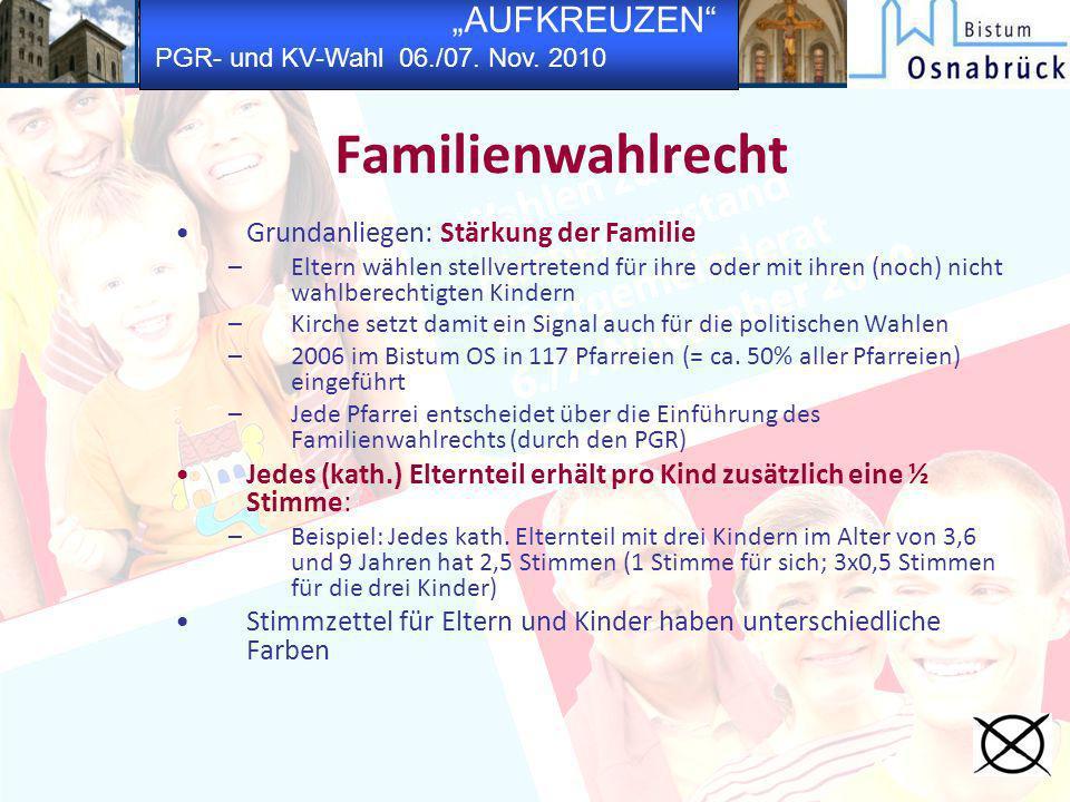 AUFKREUZEN PGR- und KV-Wahl 06./07. Nov. 2010 Familienwahlrecht Grundanliegen: Stärkung der Familie –Eltern wählen stellvertretend für ihre oder mit i