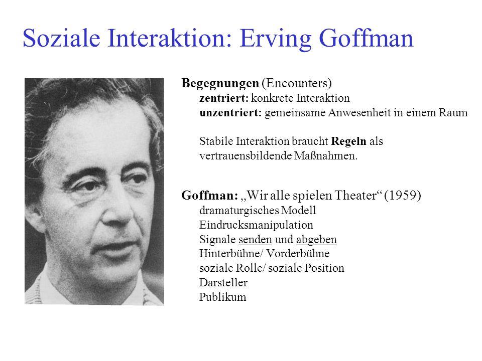 Soziale Interaktion: Erving Goffman Begegnungen (Encounters) zentriert: konkrete Interaktion unzentriert: gemeinsame Anwesenheit in einem Raum Stabile Interaktion braucht Regeln als vertrauensbildende Maßnahmen.