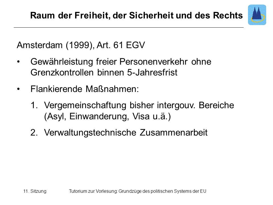 11. SitzungTutorium zur Vorlesung: Grundzüge des politischen Systems der EU Raum der Freiheit, der Sicherheit und des Rechts Amsterdam (1999), Art. 61