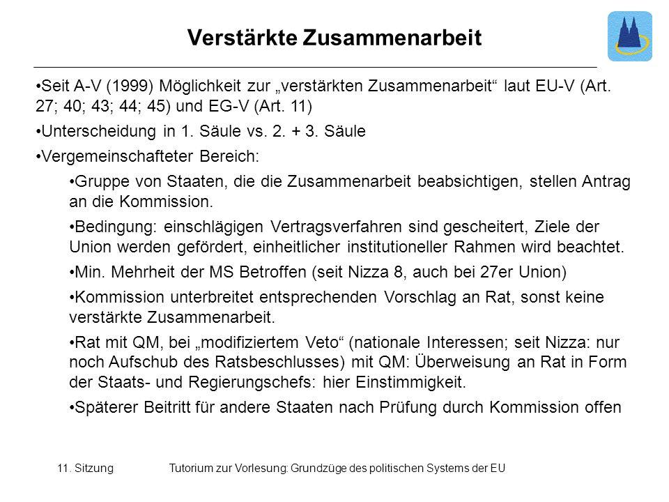 11. SitzungTutorium zur Vorlesung: Grundzüge des politischen Systems der EU Verstärkte Zusammenarbeit Seit A-V (1999) Möglichkeit zur verstärkten Zusa