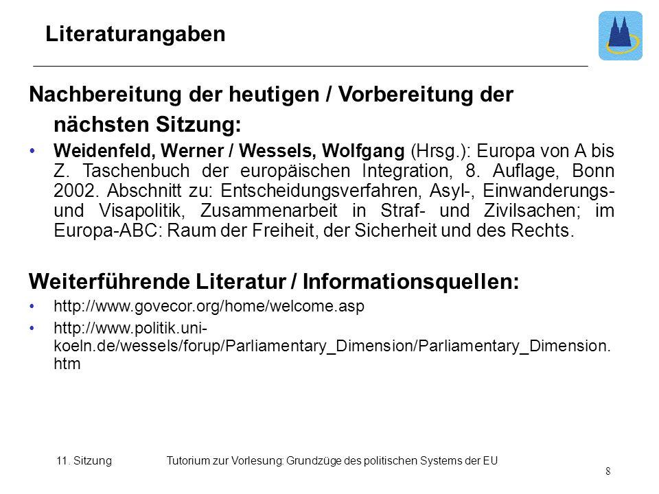 11. SitzungTutorium zur Vorlesung: Grundzüge des politischen Systems der EU Nachbereitung der heutigen / Vorbereitung der nächsten Sitzung: Weidenfeld