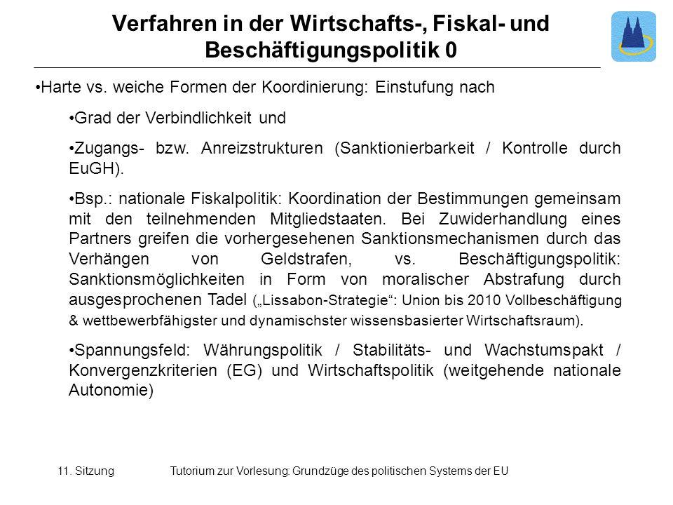 11. SitzungTutorium zur Vorlesung: Grundzüge des politischen Systems der EU Verfahren in der Wirtschafts-, Fiskal- und Beschäftigungspolitik 0 Harte v