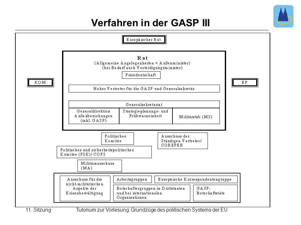 11. SitzungTutorium zur Vorlesung: Grundzüge des politischen Systems der EU Verfahren in der GASP III