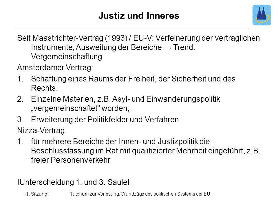 11. SitzungTutorium zur Vorlesung: Grundzüge des politischen Systems der EU Justiz und Inneres Seit Maastrichter-Vertrag (1993) / EU-V: Verfeinerung d
