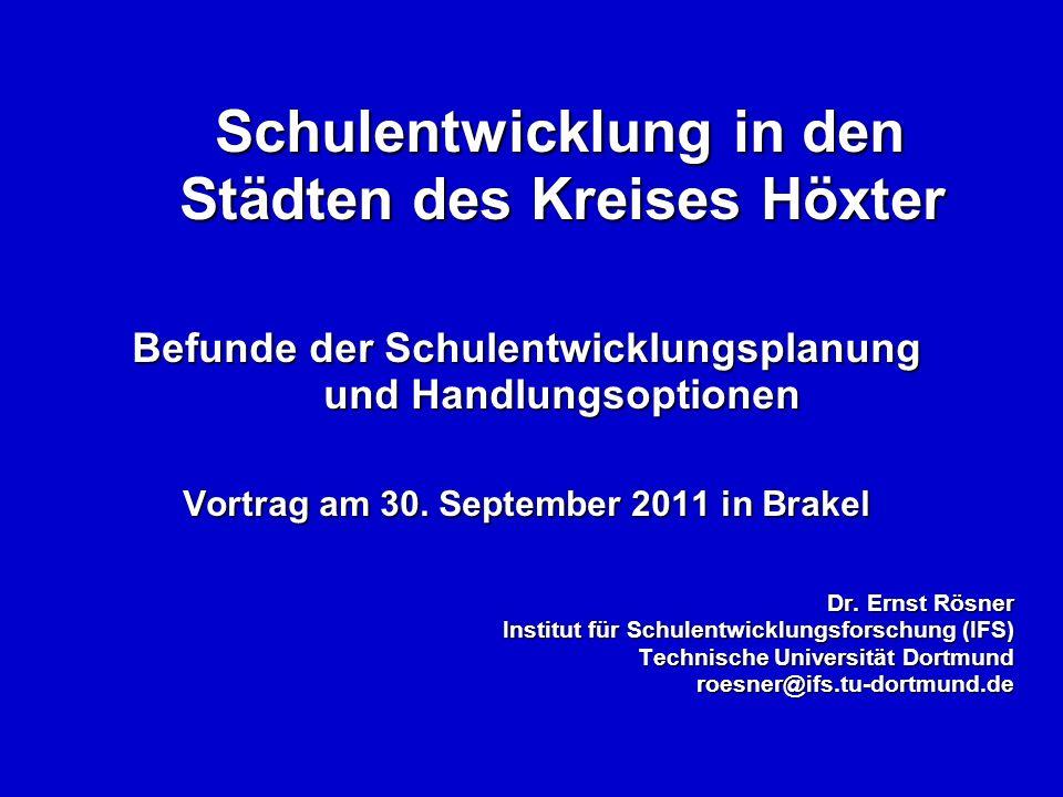 Schulentwicklung in den Städten des Kreises Höxter Schulentwicklung in den Städten des Kreises Höxter Befunde der Schulentwicklungsplanung und Handlungsoptionen Vortrag am 30.