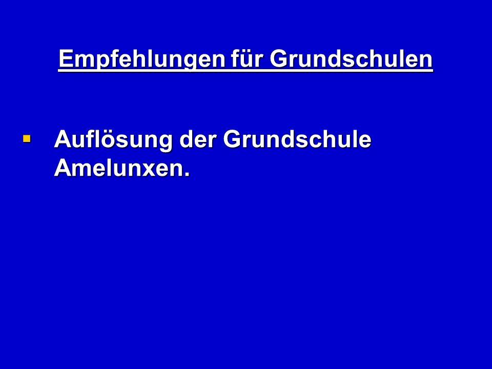 Empfehlungen für Grundschulen Auflösung der Grundschule Amelunxen.
