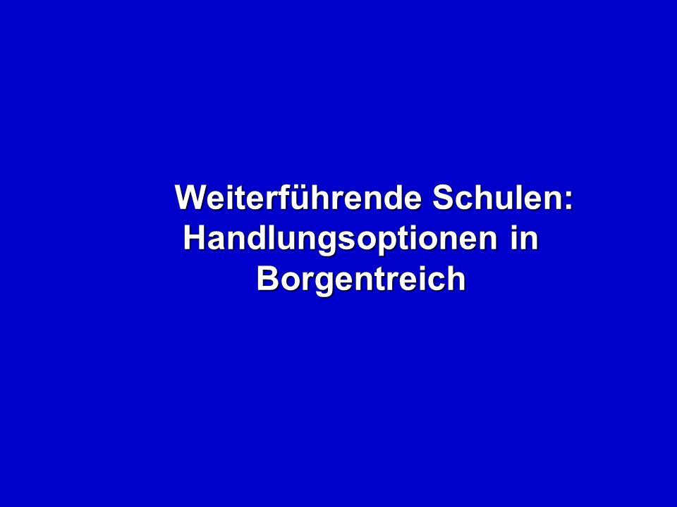 Weiterführende Schulen: Handlungsoptionen in Borgentreich Weiterführende Schulen: Handlungsoptionen in Borgentreich
