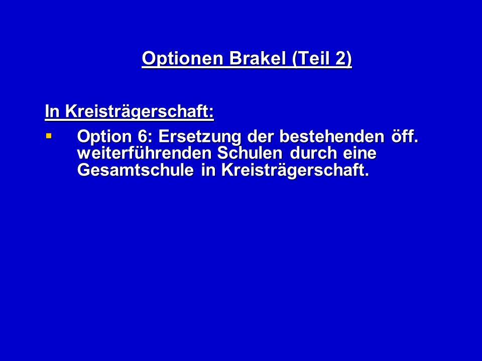 Optionen Brakel (Teil 2) In Kreisträgerschaft: Option 6: Ersetzung der bestehenden öff.
