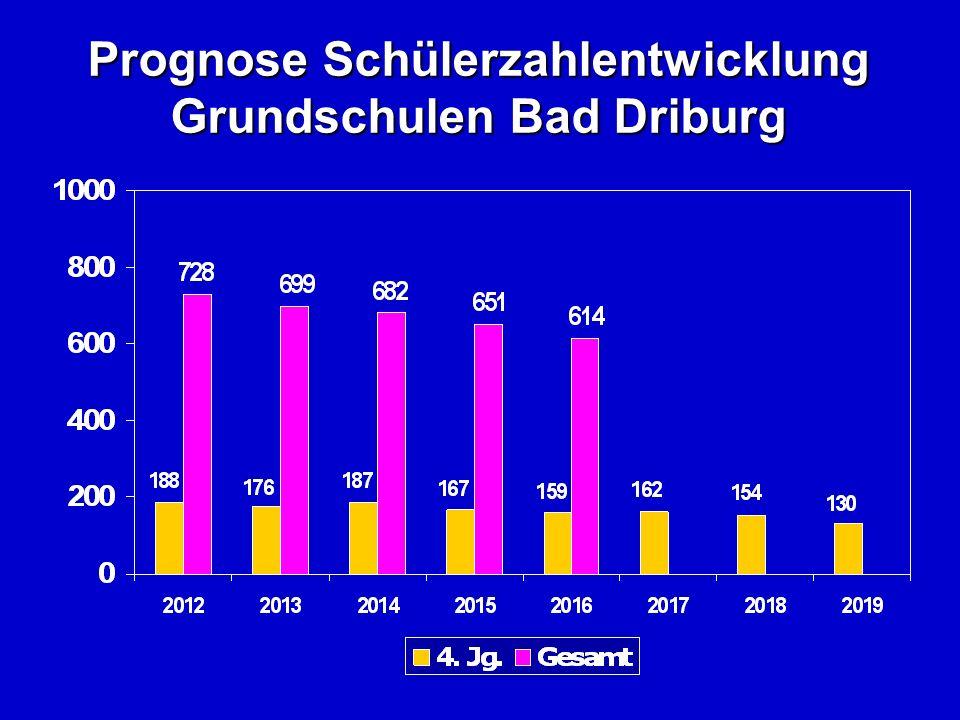 Prognose Schülerzahlentwicklung Grundschulen Bad Driburg
