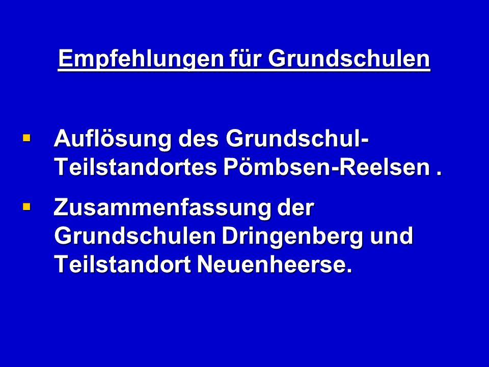 Empfehlungen für Grundschulen Auflösung des Grundschul- Teilstandortes Pömbsen-Reelsen.