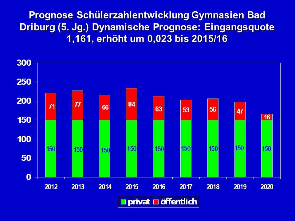 Prognose Schülerzahlentwicklung Gymnasien Bad Driburg (5.