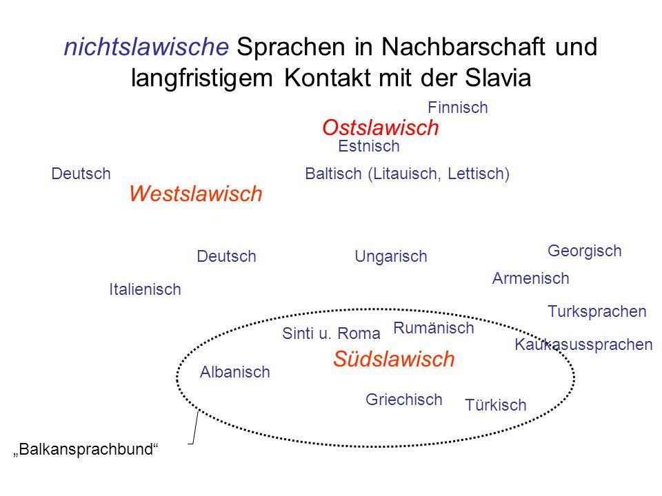 nichtslawische Sprachen in Nachbarschaft und langfristigem Kontakt mit der Slavia Westslawisch Südslawisch Ostslawisch Rumänisch Griechisch Albanisch