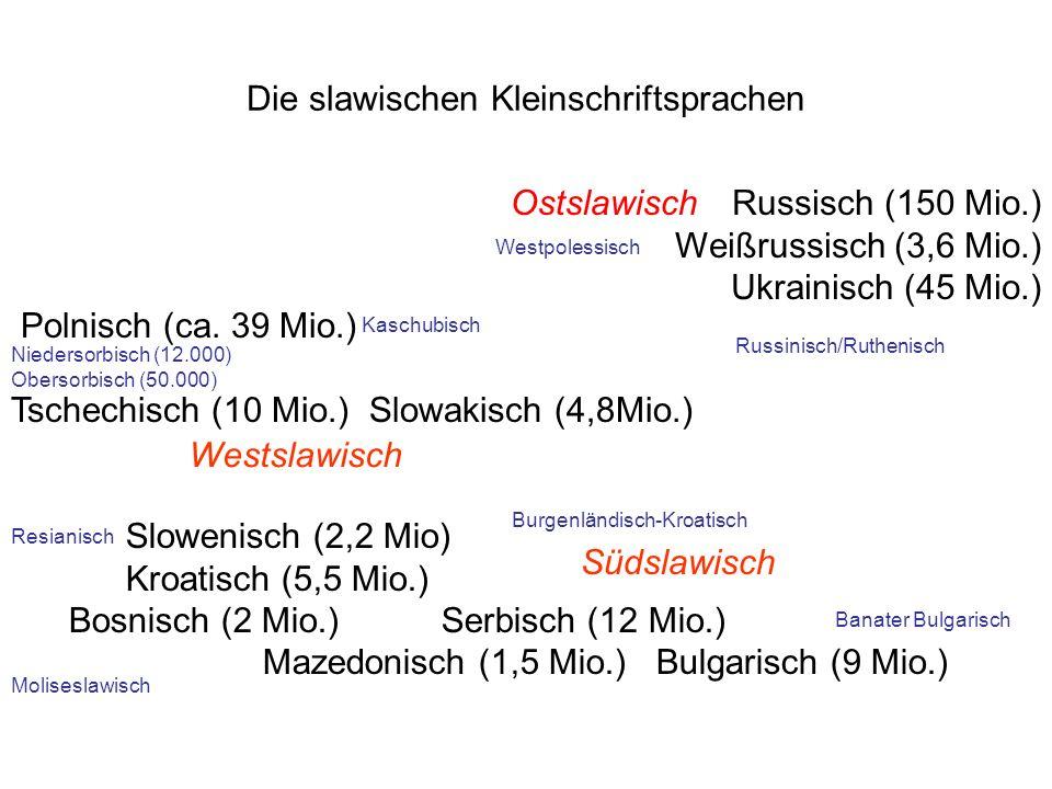 Die slawischen Kleinschriftsprachen Polnisch (ca. 39 Mio.) Tschechisch (10 Mio.) Slowakisch (4,8Mio.) Slowenisch (2,2 Mio) Kroatisch (5,5 Mio.) Bosnis