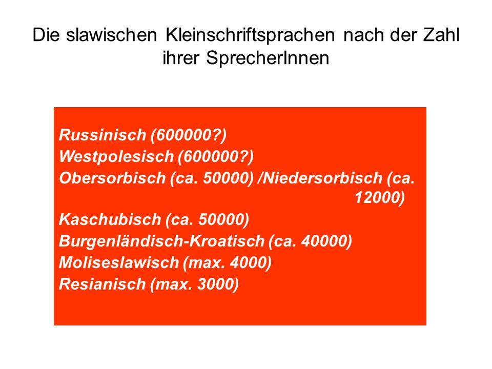Die slawischen Kleinschriftsprachen nach der Zahl ihrer SprecherInnen Russinisch (600000?) Westpolesisch (600000?) Obersorbisch (ca. 50000) /Niedersor
