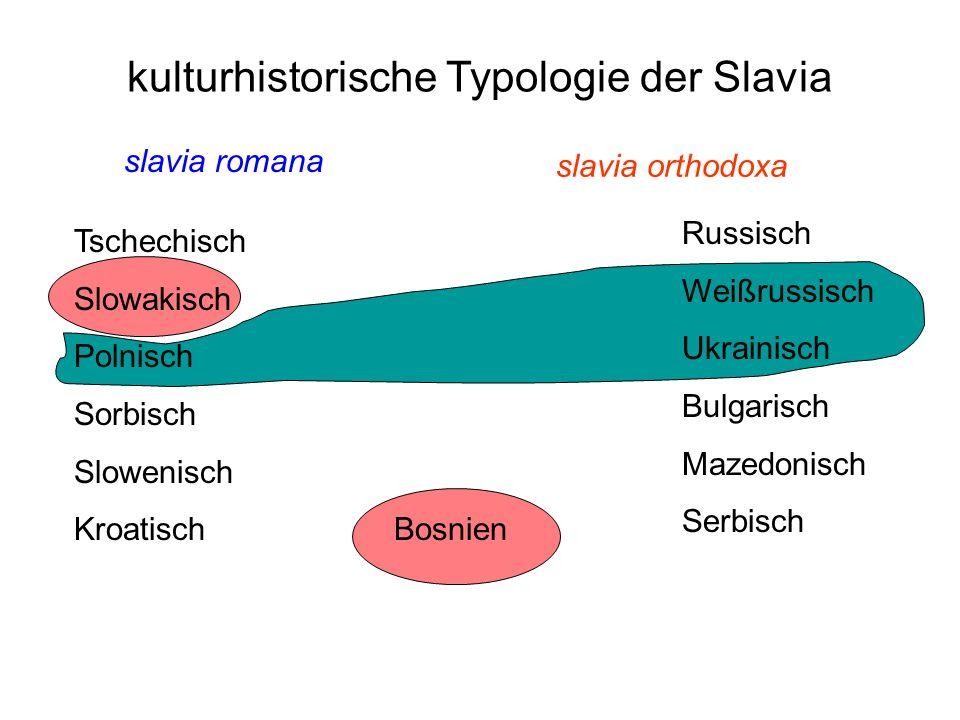 slavia romana slavia orthodoxa kulturhistorische Typologie der Slavia Tschechisch Slowakisch Polnisch Sorbisch Slowenisch Kroatisch Russisch Weißrussi