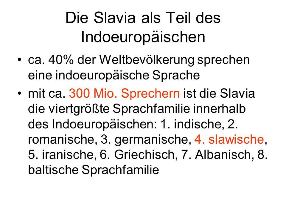 Die Slavia als Teil des Indoeuropäischen ca. 40% der Weltbevölkerung sprechen eine indoeuropäische Sprache mit ca. 300 Mio. Sprechern ist die Slavia d