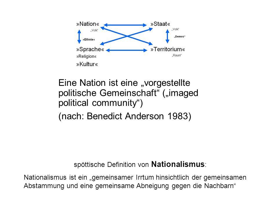 Eine Nation ist eine vorgestellte politische Gemeinschaft (imaged political community) (nach: Benedict Anderson 1983) spöttische Definition von Nationalismus : Nationalismus ist ein gemeinsamer Irrtum hinsichtlich der gemeinsamen Abstammung und eine gemeinsame Abneigung gegen die Nachbarn
