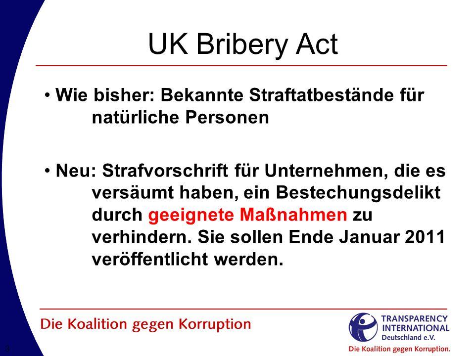 33 UK Bribery Act Wie bisher: Bekannte Straftatbestände für natürliche Personen Neu: Strafvorschrift für Unternehmen, die es versäumt haben, ein Bestechungsdelikt durch geeignete Maßnahmen zu verhindern.