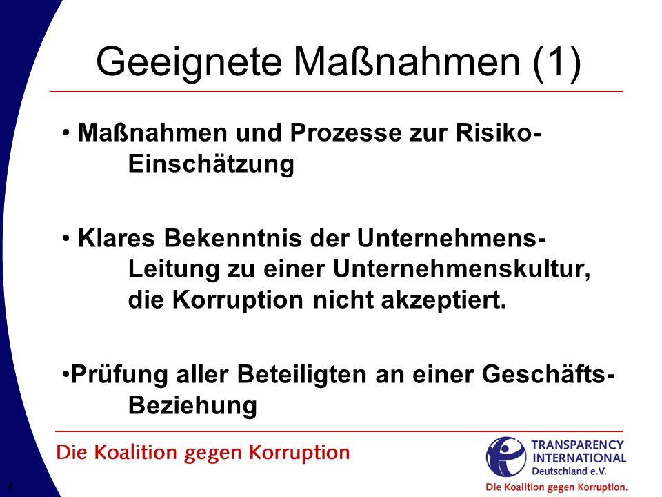 44 Geeignete Maßnahmen (1) Maßnahmen und Prozesse zur Risiko- Einschätzung Klares Bekenntnis der Unternehmens- Leitung zu einer Unternehmenskultur, die Korruption nicht akzeptiert.