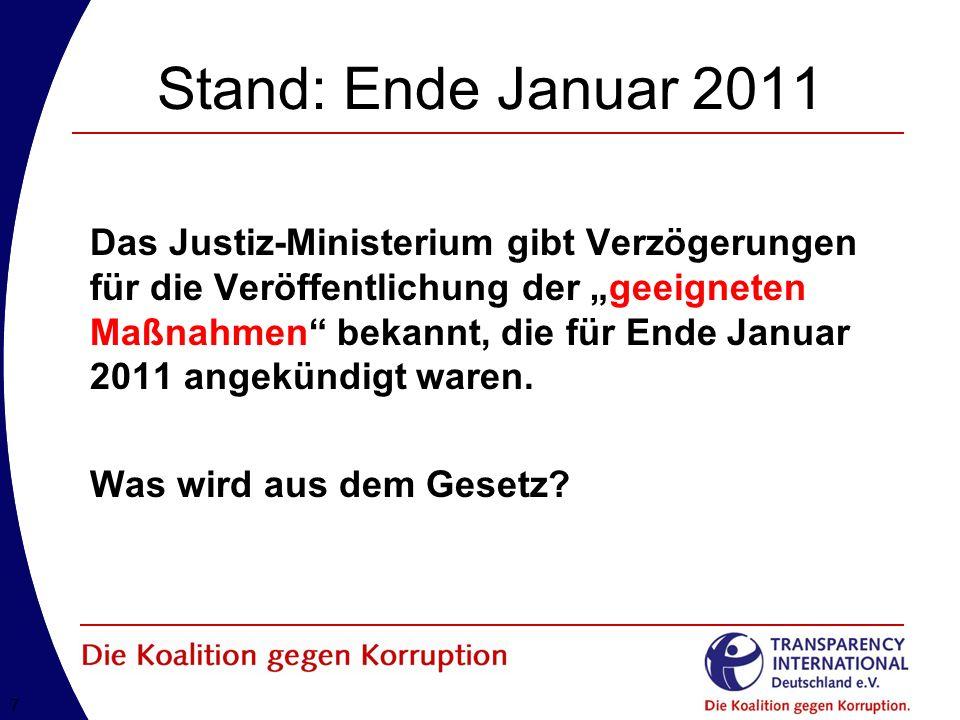 77 Stand: Ende Januar 2011 Das Justiz-Ministerium gibt Verzögerungen für die Veröffentlichung der geeigneten Maßnahmen bekannt, die für Ende Januar 2011 angekündigt waren.
