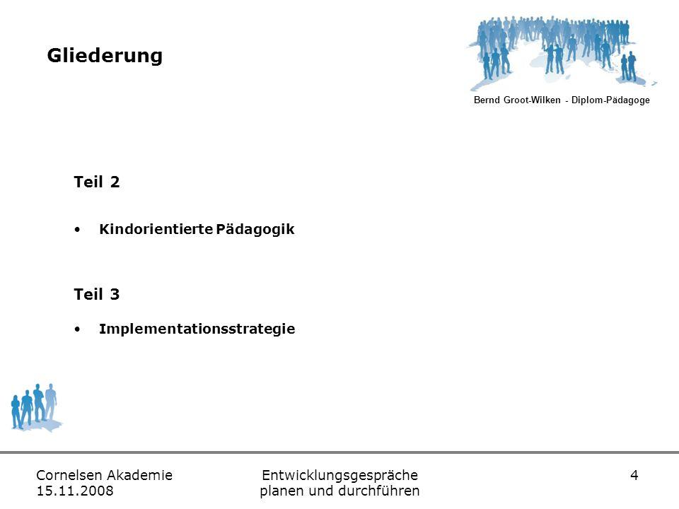 Bernd Groot-Wilken - Diplom-Pädagoge Cornelsen Akademie 15.11.2008 Entwicklungsgespräche planen und durchführen 15 Elemente des Entwicklungsgespräches Elemente sind… Reflexion Analyse Individuelle Förderung (Zielvereinbarung)