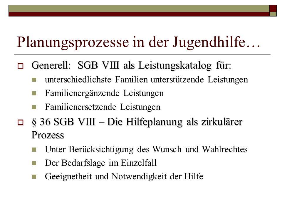 Planungsprozesse in der Jugendhilfe… Generell: SGB VIII als Leistungskatalog für: Generell: SGB VIII als Leistungskatalog für: unterschiedlichste Fami