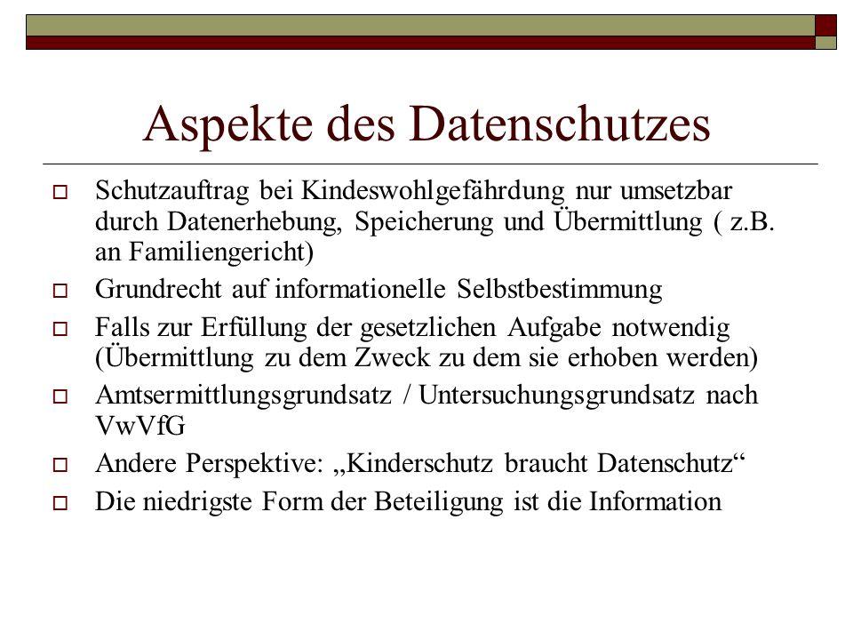 Aspekte des Datenschutzes Schutzauftrag bei Kindeswohlgefährdung nur umsetzbar durch Datenerhebung, Speicherung und Übermittlung ( z.B. an Familienger