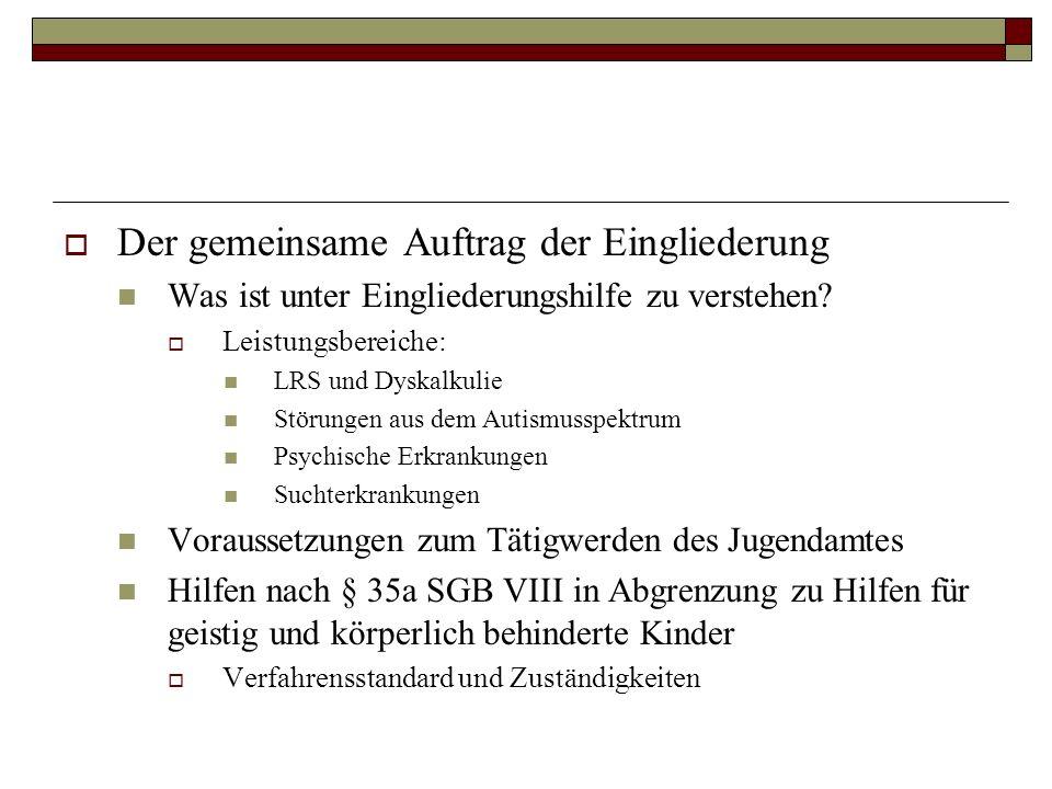 Der gemeinsame Auftrag der Eingliederung Was ist unter Eingliederungshilfe zu verstehen? Leistungsbereiche: LRS und Dyskalkulie Störungen aus dem Auti