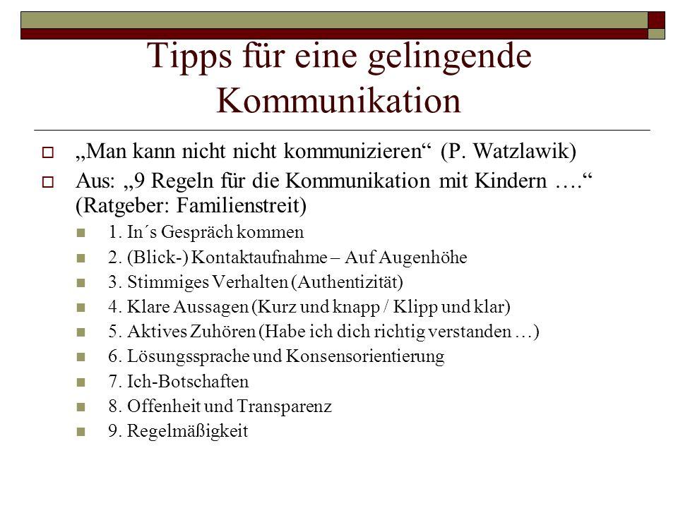 Tipps für eine gelingende Kommunikation Man kann nicht nicht kommunizieren (P. Watzlawik) Aus: 9 Regeln für die Kommunikation mit Kindern …. (Ratgeber