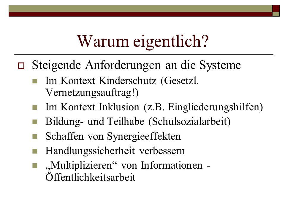 Warum eigentlich? Steigende Anforderungen an die Systeme Im Kontext Kinderschutz (Gesetzl. Vernetzungsauftrag!) Im Kontext Inklusion (z.B. Eingliederu
