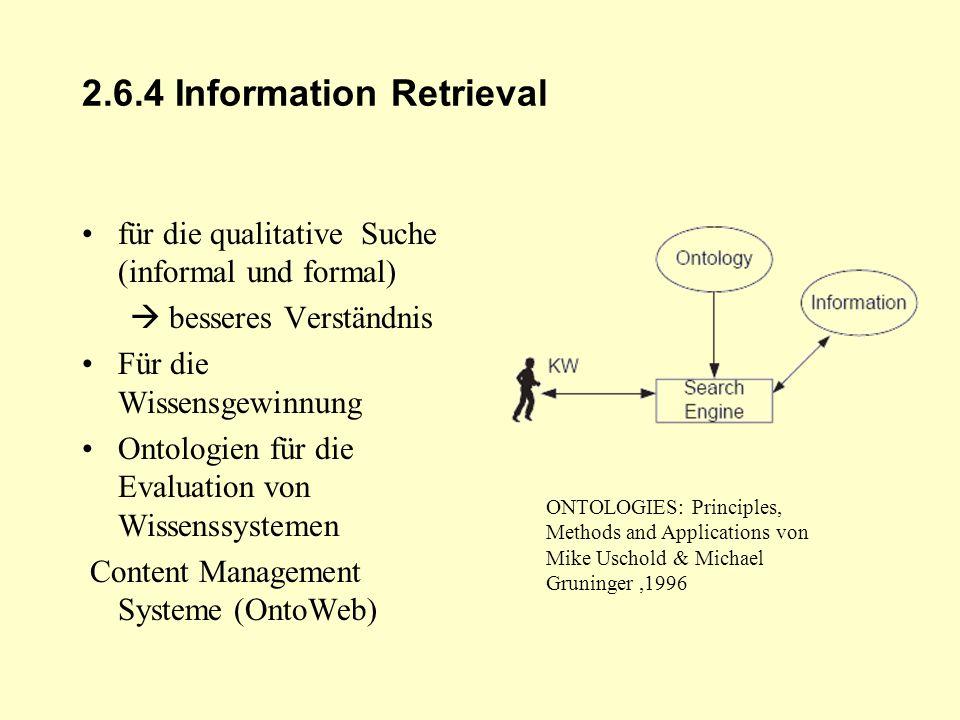 2.6.4 Information Retrieval für die qualitative Suche (informal und formal) besseres Verständnis Für die Wissensgewinnung Ontologien für die Evaluatio