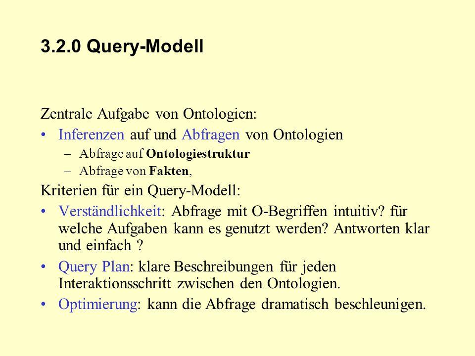 3.2.0 Query-Modell Zentrale Aufgabe von Ontologien: Inferenzen auf und Abfragen von Ontologien –Abfrage auf Ontologiestruktur –Abfrage von Fakten, Kri