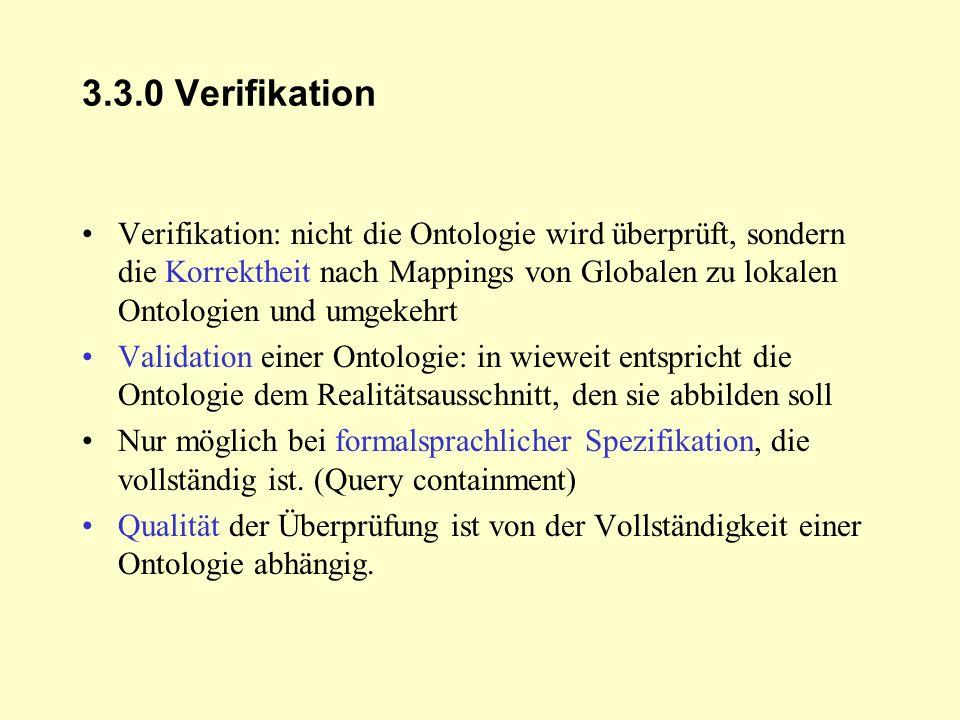 3.3.0 Verifikation Verifikation: nicht die Ontologie wird überprüft, sondern die Korrektheit nach Mappings von Globalen zu lokalen Ontologien und umge