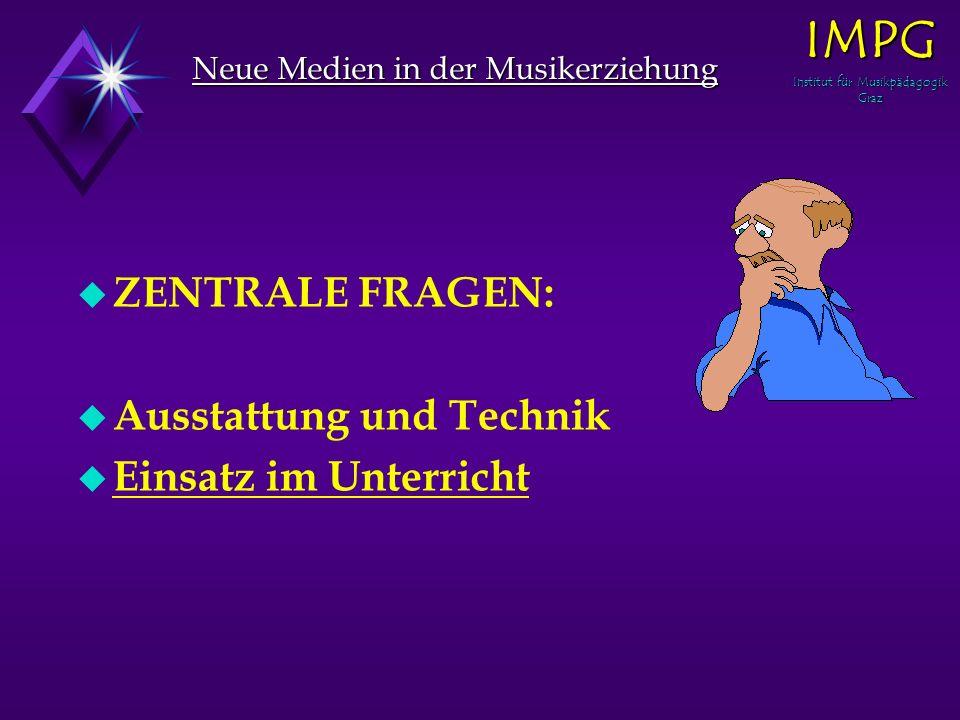 Neue Medien in der Musikerziehung u ZENTRALE FRAGEN: u Ausstattung und Technik u Einsatz im Unterricht IMPG Institut für Musikpädagogik Graz