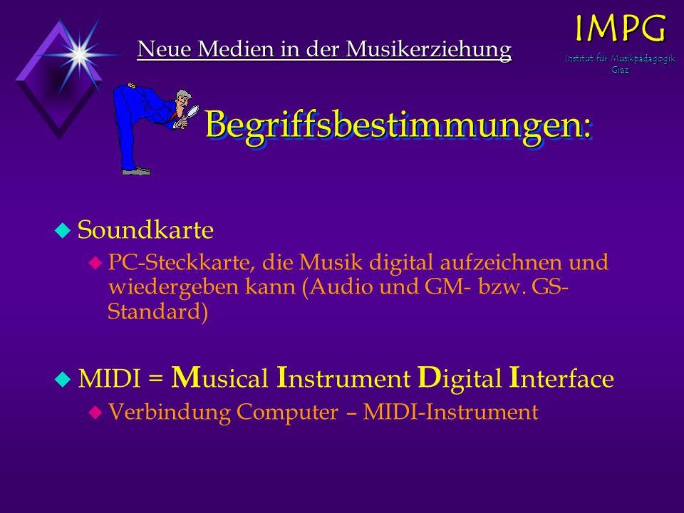 Begriffsbestimmungen: Begriffsbestimmungen: Neue Medien in der Musikerziehung IMPG Institut für Musikpädagogik Graz u u Soundkarte u u PC-Steckkarte, die Musik digital aufzeichnen und wiedergeben kann (Audio und GM- bzw.