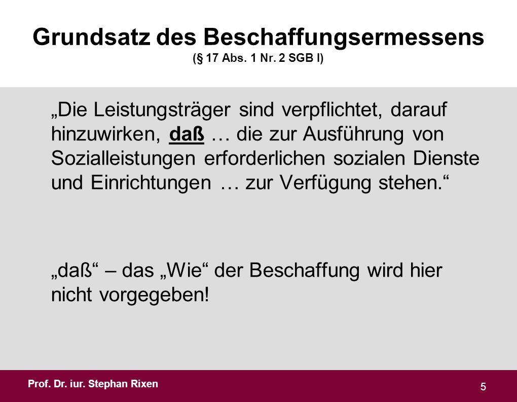 Prof.Dr. iur. Stephan Rixen Grundsatz des Beschaffungsermessens (§ 17 Abs.
