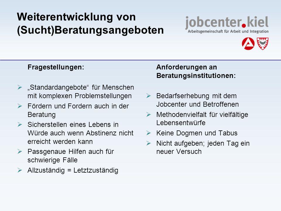 Weiterentwicklung von (Sucht)Beratungsangeboten Fragestellungen: Standardangebote für Menschen mit komplexen Problemstellungen Fördern und Fordern auc
