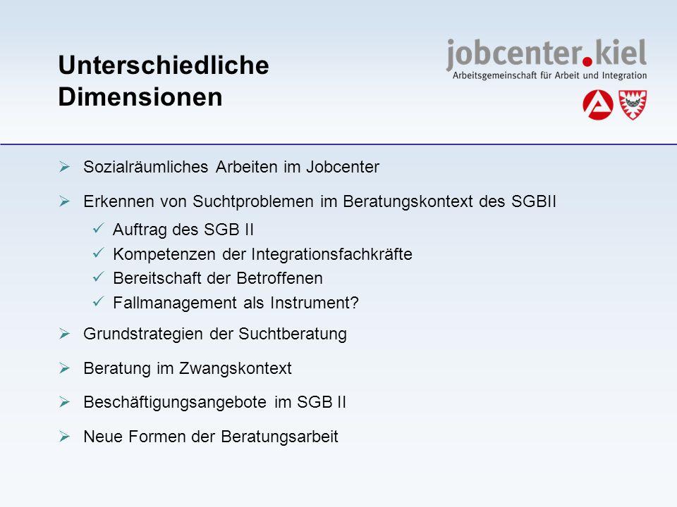 Unterschiedliche Dimensionen Sozialräumliches Arbeiten im Jobcenter Erkennen von Suchtproblemen im Beratungskontext des SGBII Auftrag des SGB II Kompe