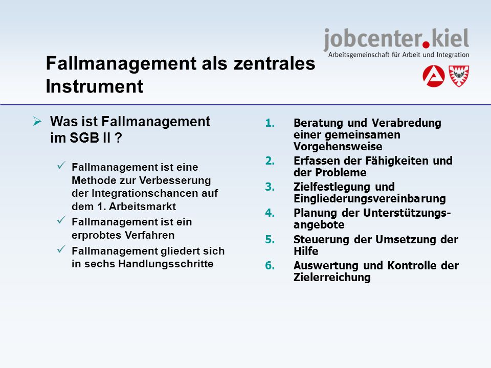 Was ist Fallmanagement im SGB II ? Fallmanagement ist eine Methode zur Verbesserung der Integrationschancen auf dem 1. Arbeitsmarkt Fallmanagement ist