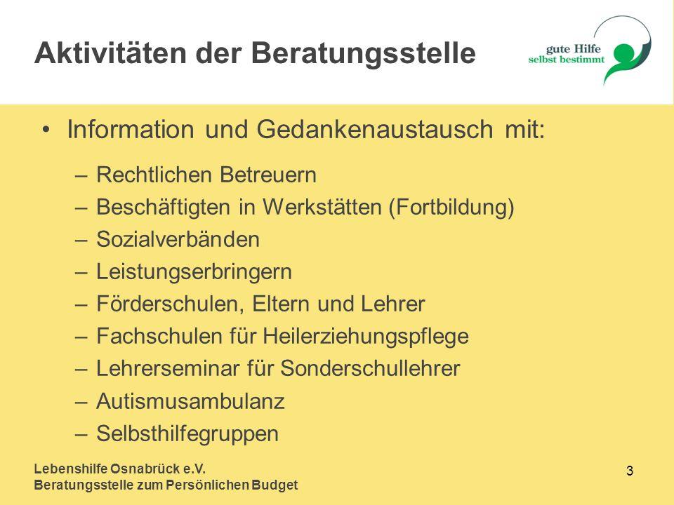 Lebenshilfe Osnabrück e.V. Beratungsstelle zum Persönlichen Budget 3 Information und Gedankenaustausch mit: –Rechtlichen Betreuern –Beschäftigten in W