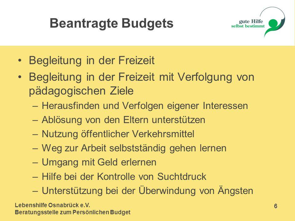 Lebenshilfe Osnabrück e.V. Beratungsstelle zum Persönlichen Budget 6 Begleitung in der Freizeit Begleitung in der Freizeit mit Verfolgung von pädagogi