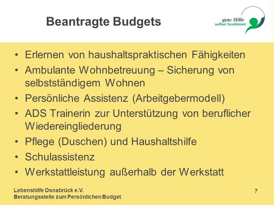 Lebenshilfe Osnabrück e.V. Beratungsstelle zum Persönlichen Budget 7 Erlernen von haushaltspraktischen Fähigkeiten Ambulante Wohnbetreuung – Sicherung
