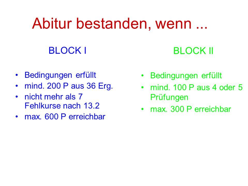 Abitur bestanden, wenn... BLOCK I Bedingungen erfüllt mind. 200 P aus 36 Erg. nicht mehr als 7 Fehlkurse nach 13.2 max. 600 P erreichbar BLOCK II Bedi