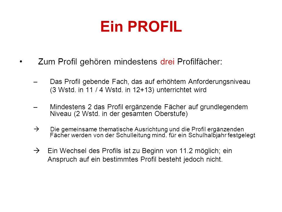 Ein PROFIL Zum Profil gehören mindestens drei Profilfächer: –Das Profil gebende Fach, das auf erhöhtem Anforderungsniveau (3 Wstd.
