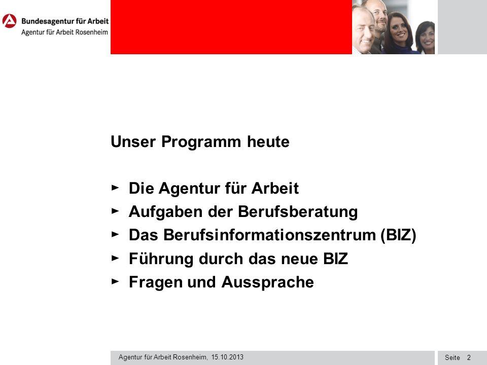 Seite Agentur für Arbeit Rosenheim, 15.10.2013 13 Welche Instrumente verwenden wir .
