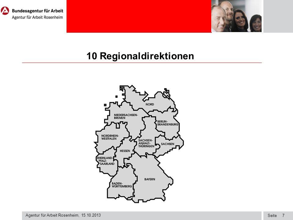 Seite 10 Regionaldirektionen Agentur für Arbeit Rosenheim, 15.10.2013 7