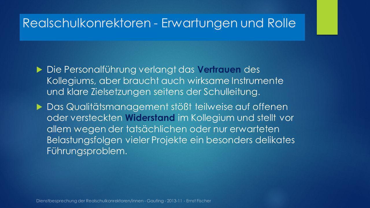 Realschulkonrektoren - Erwartungen und Rolle Dienstbesprechung der Realschulkonrektoren/innen - Gauting - 2013-11 - Ernst Fischer Die Personalführung verlangt das Vertrauen des Kollegiums, aber braucht auch wirksame Instrumente und klare Zielsetzungen seitens der Schulleitung.