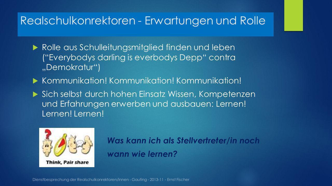 Realschulkonrektoren - Erwartungen und Rolle Dienstbesprechung der Realschulkonrektoren/innen - Gauting - 2013-11 - Ernst Fischer Rolle aus Schulleitungsmitglied finden und leben (Everybodys darling is everbodys Depp contra Demokratur) Kommunikation.