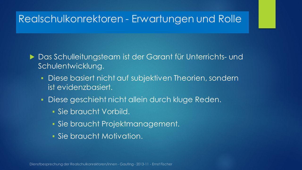 Realschulkonrektoren - Erwartungen und Rolle Dienstbesprechung der Realschulkonrektoren/innen - Gauting - 2013-11 - Ernst Fischer Das Schulleitungsteam ist der Garant für Unterrichts- und Schulentwicklung.