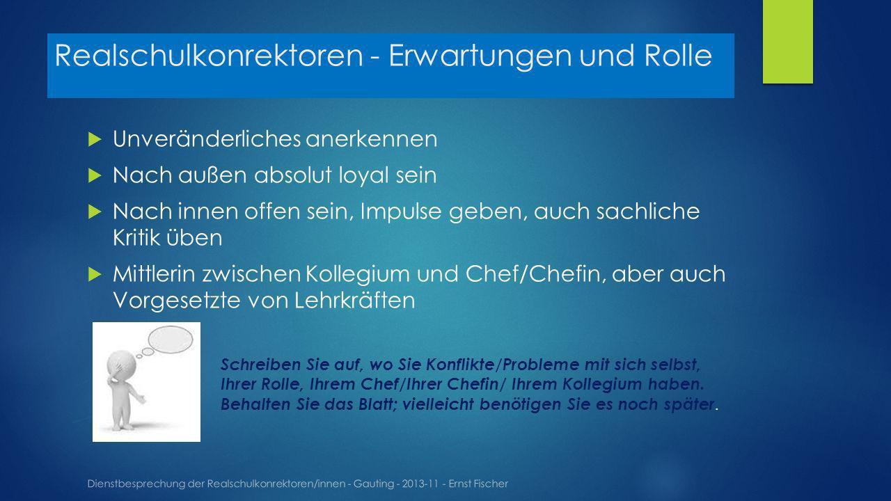 Realschulkonrektoren - Erwartungen und Rolle Dienstbesprechung der Realschulkonrektoren/innen - Gauting - 2013-11 - Ernst Fischer Unveränderliches ane
